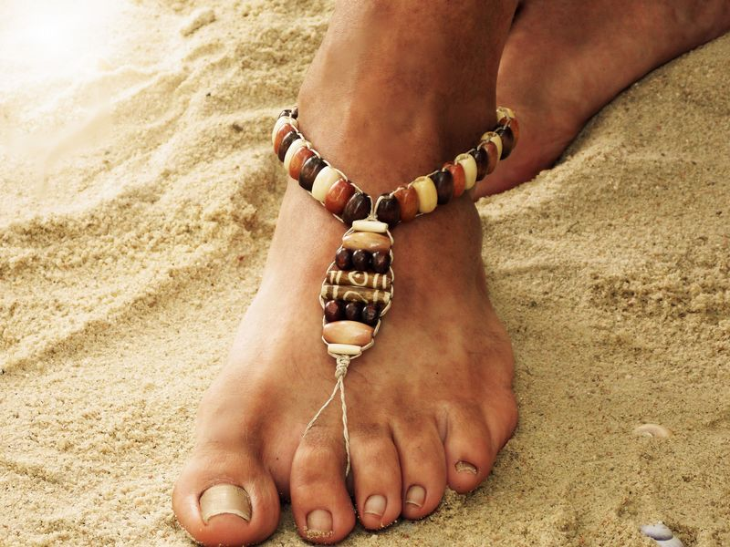 0f19196f0d8be Men s Barefoot Sandals - Brown Wooden Beads - MoJo s Free Spirit
