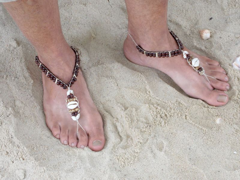 04b2c349aa94e Men s Cowrie Shell Barefoot Sandals - Beach Shoes - Seashell Jewelry - MoJo s  Free Spirit