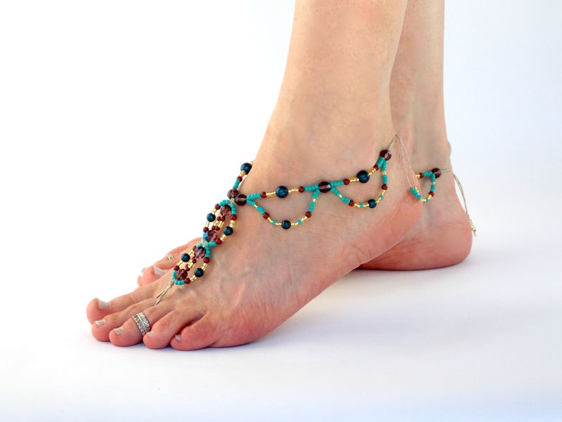 eeeec3cd0ede Bohemian Beaded Barefoot Sandals - MoJo s Free Spirit