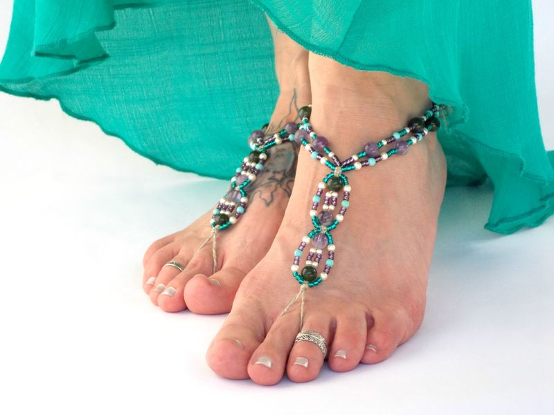 353d289ace50 Bohemian Beaded Barefoot Sandals - Amethyst - MoJo s Free Spirit