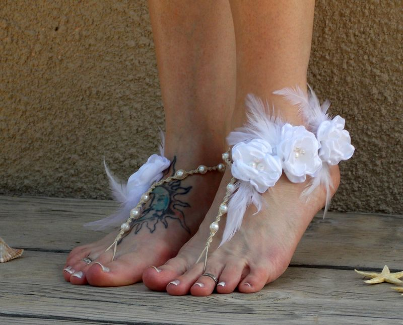 Couture Barefoot Wedding Sandals With White Feather Accents And Flowers Mojo S Free Spirit