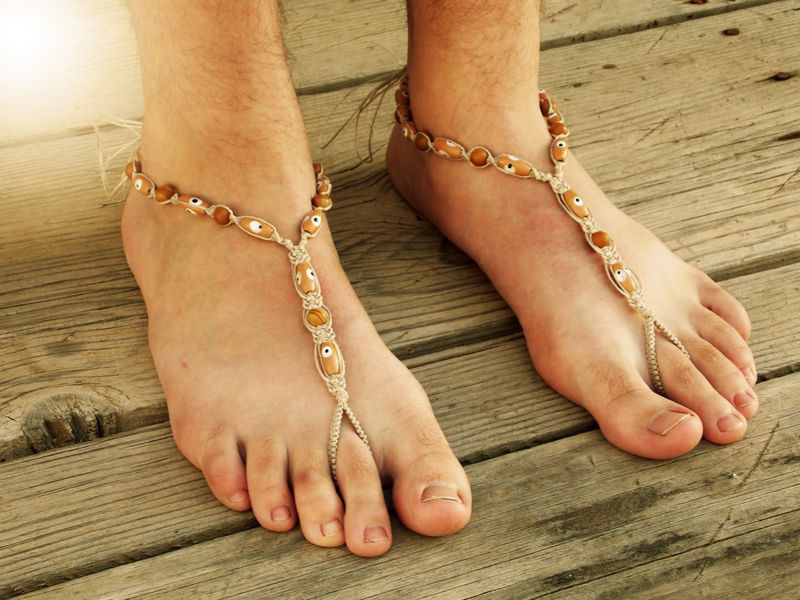 43021202d3149 Evil Eye Men s Barefoot Sandals in Brown Jasper - MoJo s Free Spirit.