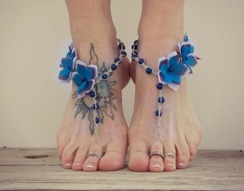 Periwinkle Flower Barefoot Sandals In Blue And Purple Mojo S Free Spirit