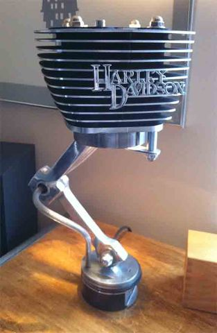 Clutch Lamp Made From Recycled Harley Davidson Parts