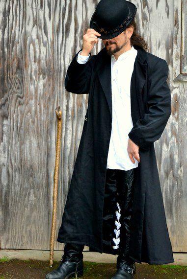 Mens Steampunk Neo Victorian Long Black Overcoat