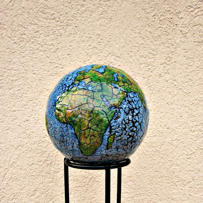 abstract papier mache globe sculpture paper earth. Black Bedroom Furniture Sets. Home Design Ideas