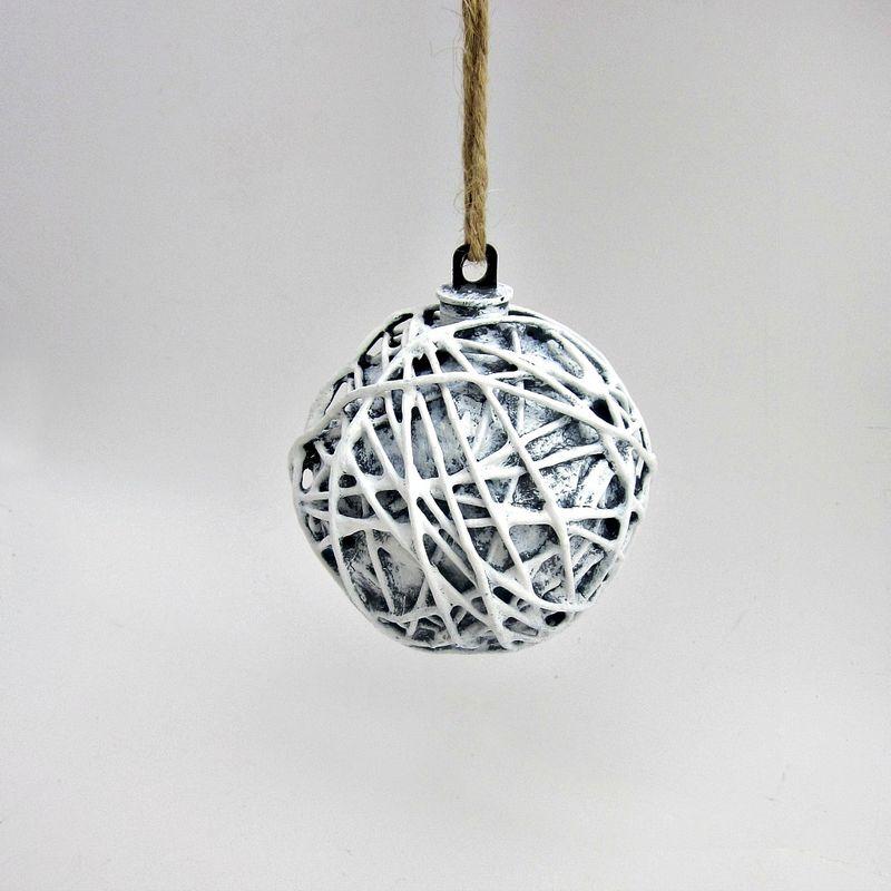 Paper Mache Christmas Ornament.Handmade Rustic White And Gray Paper Mache Christmas Art Ornament Snowdrift