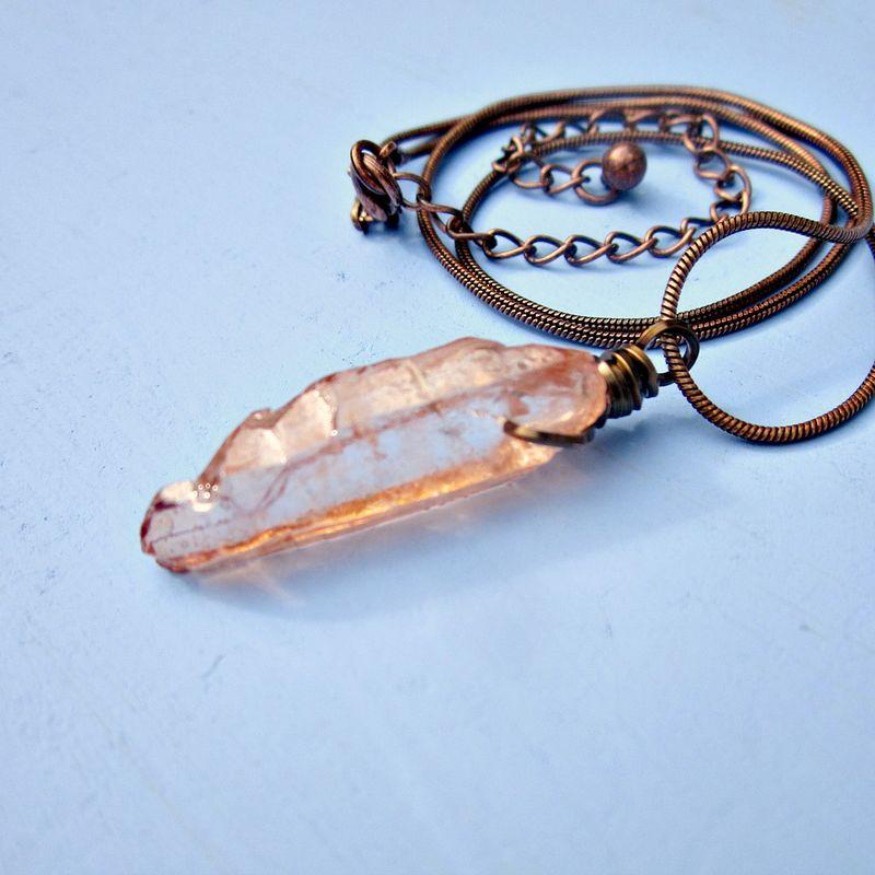 Copper Necklace Grey Druzy Snake Talisman