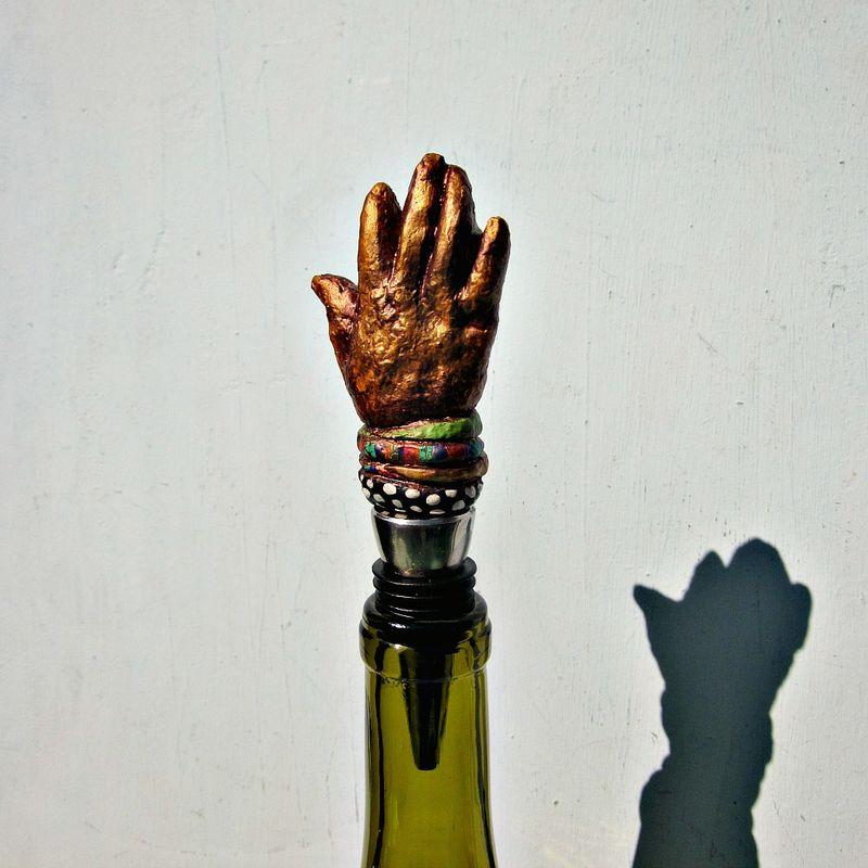 Shop Towels Paper Mache: Bottlestopper With Sculpted Decorative Paper Mache Hand