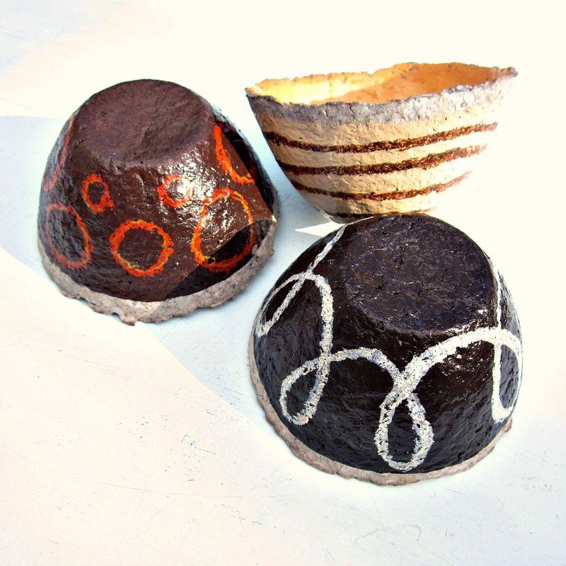 Shop Towels Paper Mache: Paper Mache Bowls, Set Of Three Mini Bowls In Assorted