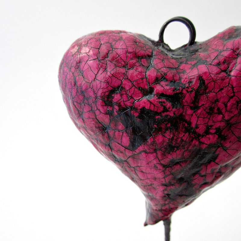 Heart Photo And Noteholder Keepsake Papier Mache Sculpture Flutter Created By Renée