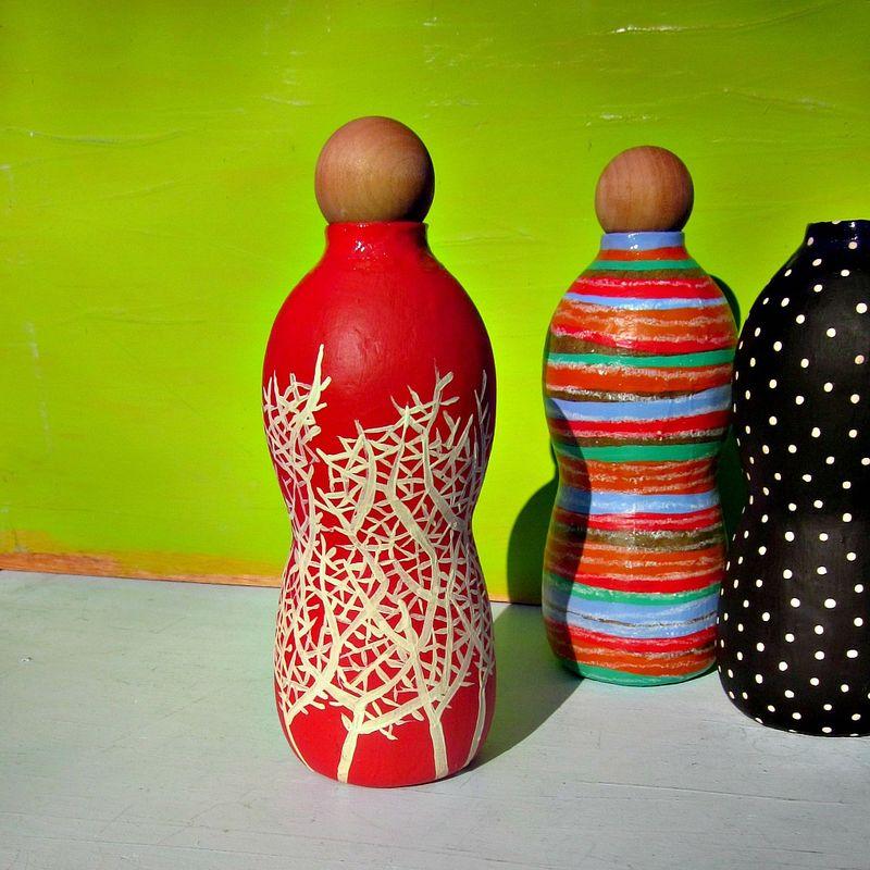 Shop Towels Paper Mache: Bottle Vase, Coral And Cream Paper Mache With Wood Cork