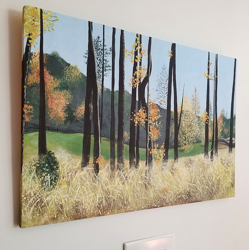 Autumn Landscape Painting On Wood Panel Serenbe Created By Renée