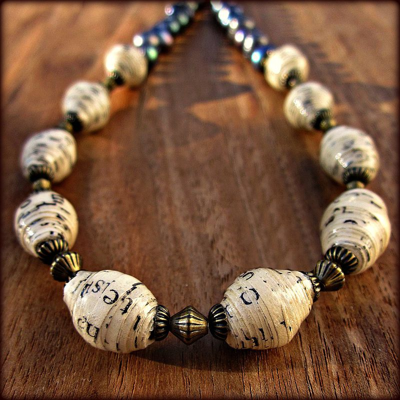 Adjustable Blue Pearl And Recycled Paper Bead Necklace