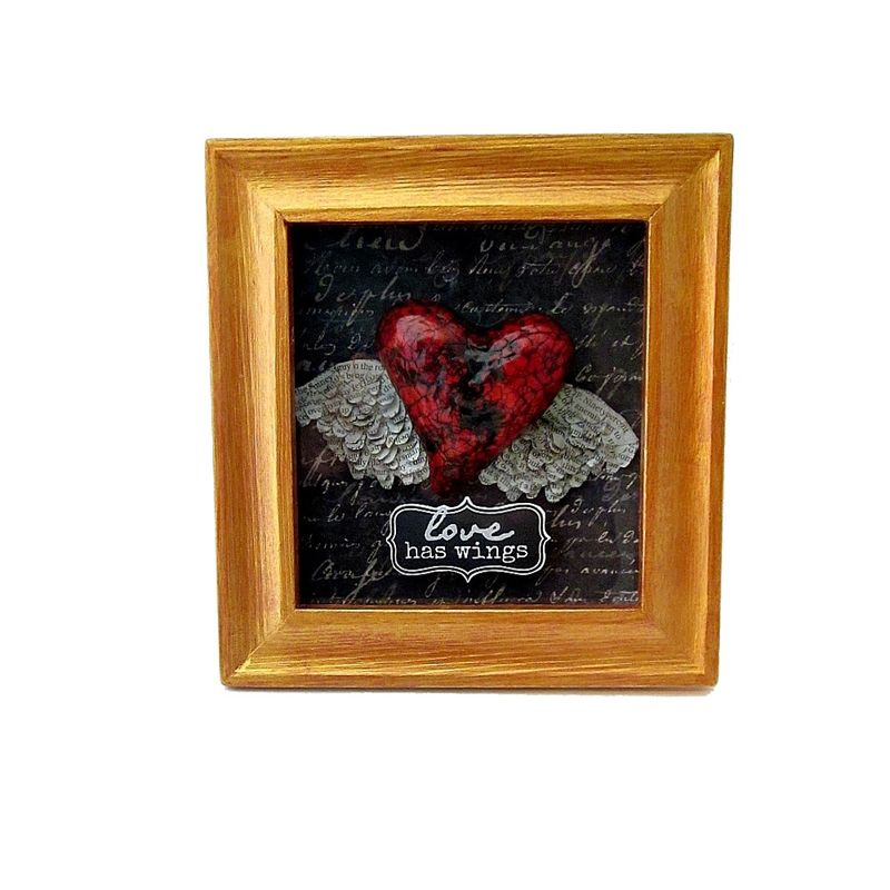 Shadow Box Heart Keepsake Paper Mache Heart With