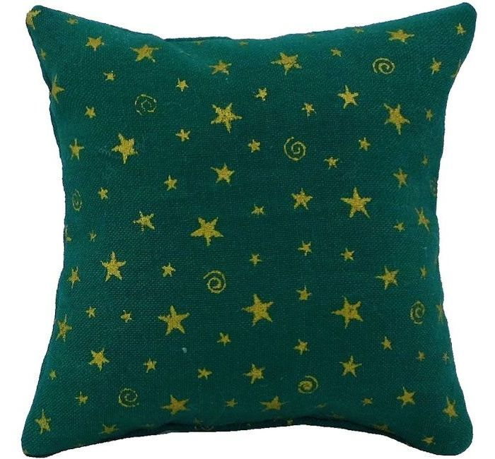 Tooth Fairy Pillow Green Star Print Fabric Shiny Gold Star Bead Trim For Boys Or Girls