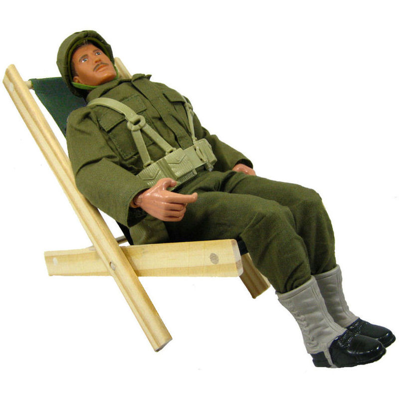 Toy Wood Beach Folding Chair Olive Green Fabric Toy