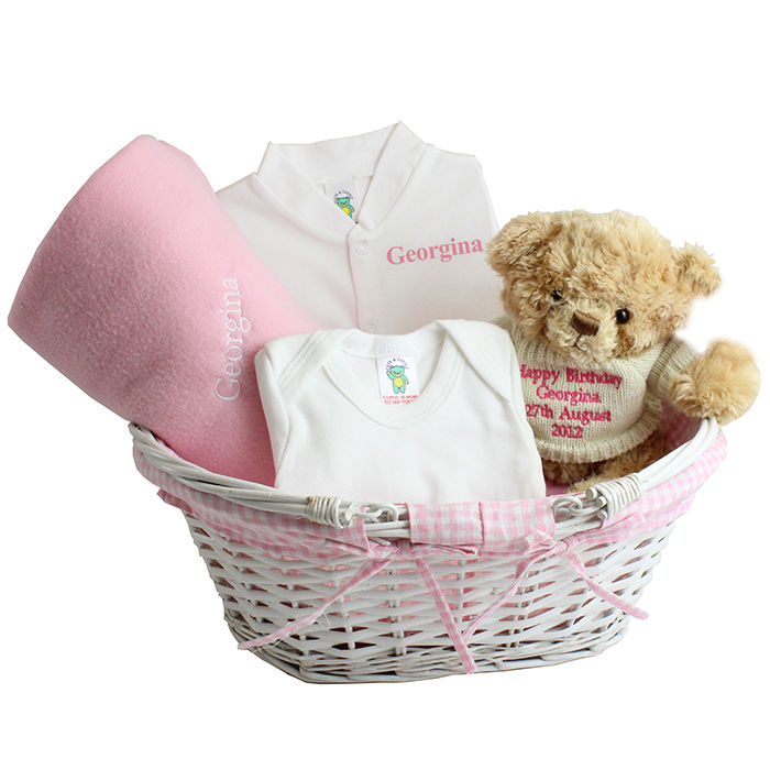 47d298c3a Unique Baby Gift Baskets Uk  Personalised embroidered unique baby ...