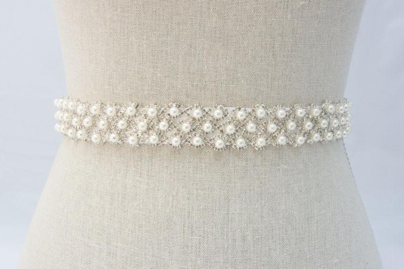 Pearl Bridal Sash Bridal Belt Rhinestone Sash Bridal