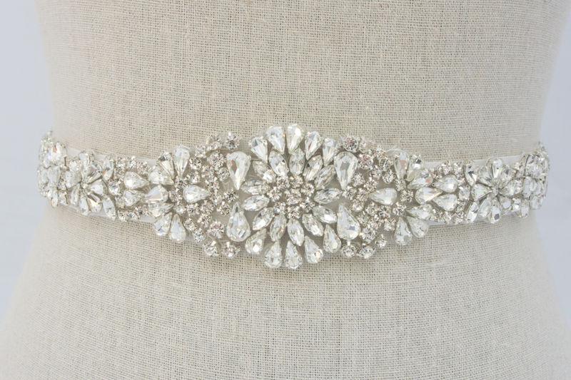 Rhinestone Bridal Sash Beaded Bridal Belt Rhinestone Applique