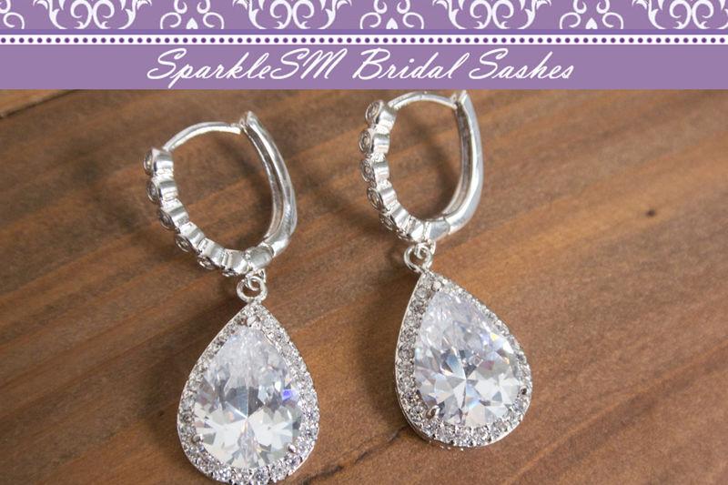 Rhinestone Bridal Earrings Crystal Swarovski Wedding Jewelry Post Pear Sparklesm Reese