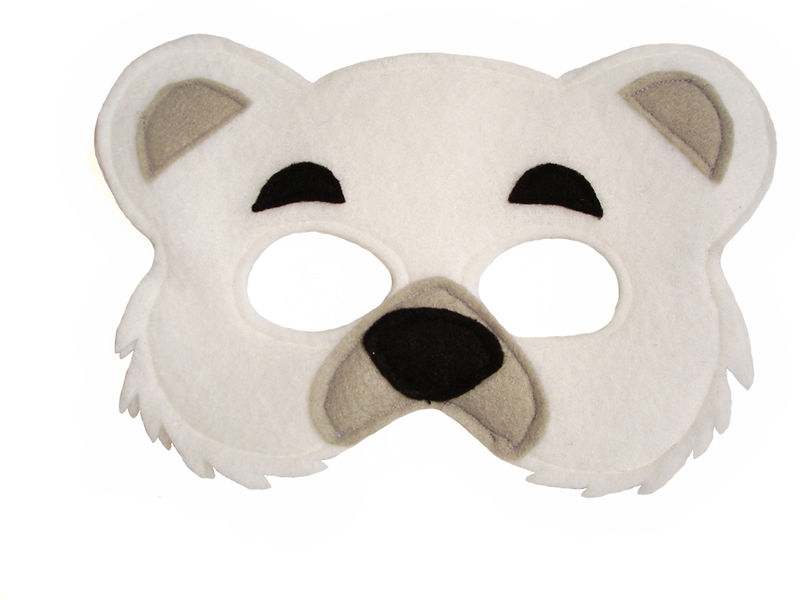 Children 39 s animal polar bear felt mask magical attic for Polar bear face template