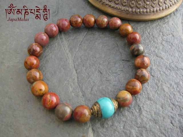 Pico Jasper Bracelet Mala With Turquoise Bead Purified Blessed Product Images Of