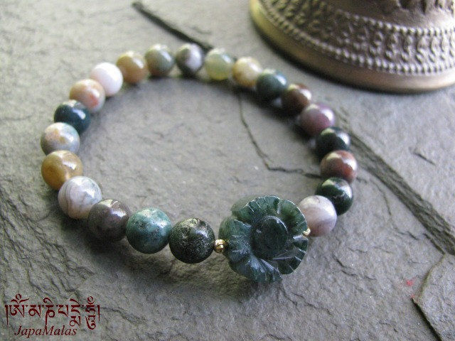 Moss Agate Flower Mala Bracelet Purified Blessed Yoga Product Images