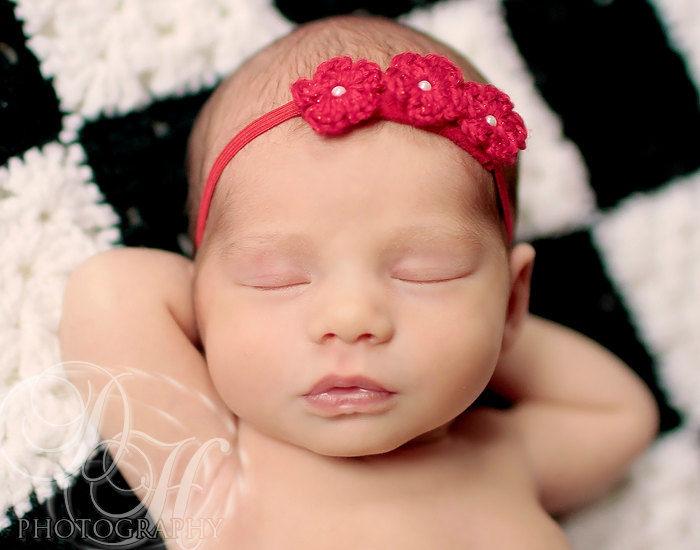 Baby girl headband newborn headband crochet baby headband newborn photo prop crochet