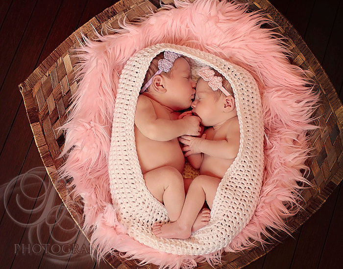 Twin photo props newborn headbands crochet baby headbands baby girl headband set