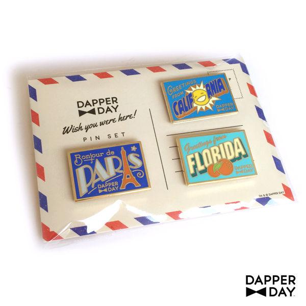 DAPPER DAY Postcard Pin Set