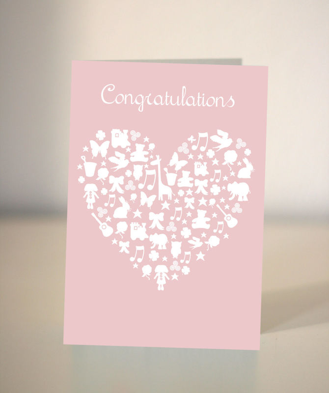 New Baby Card It S A Girl Congratulations Card Dickens Ink