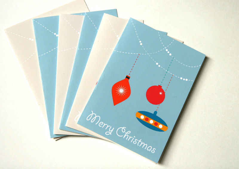 Unicef Christmas Cards.Sale Half Price Pack Of Six Christmas Cards Bauble Cards Retro Cards Unicef Cards
