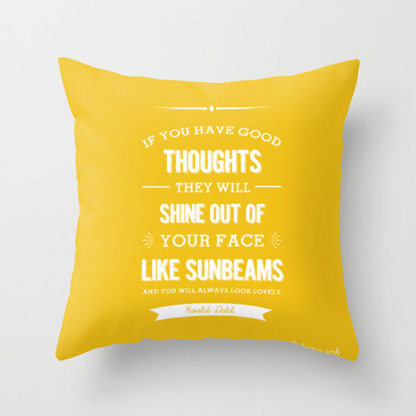 Roald Dahl Quote - Pillow cushion - good thoughts    yellow throw pillow - f6540669f