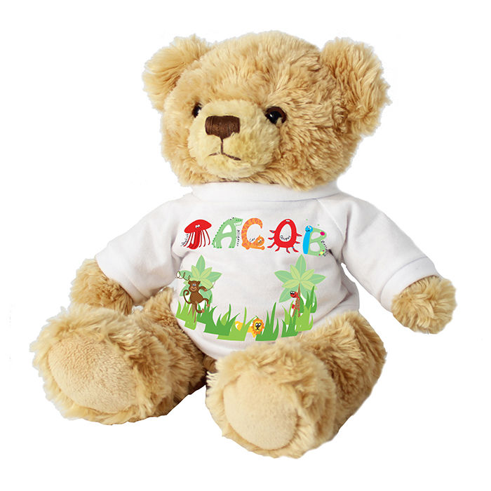 c37455e8587 Animal Name T-Shirt Message Bear - Childrens Personalised Gifts ...