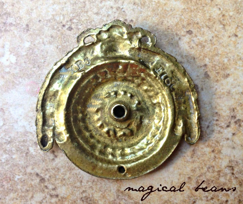 Antique Fancy Round Brass Bail Pull By Keeler Brass Co