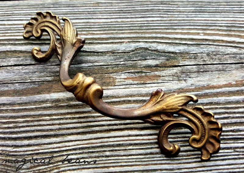 French Vintage Decorative Solid Brass Drawer Pull W