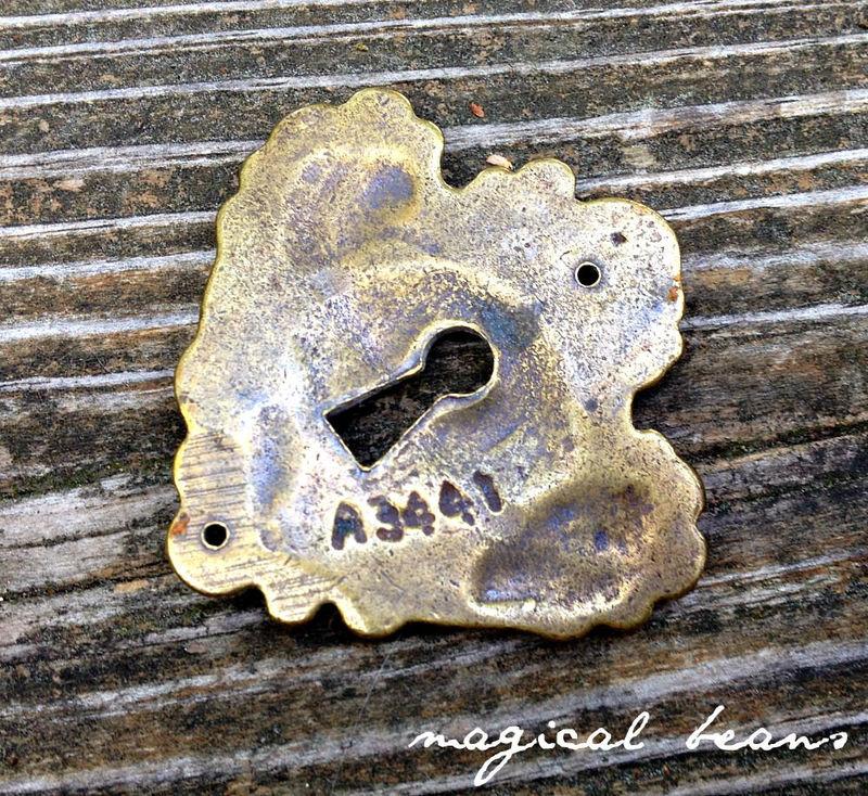 Vintage Keeler Brass Co Escutcheon Skeleton Keyhole Back