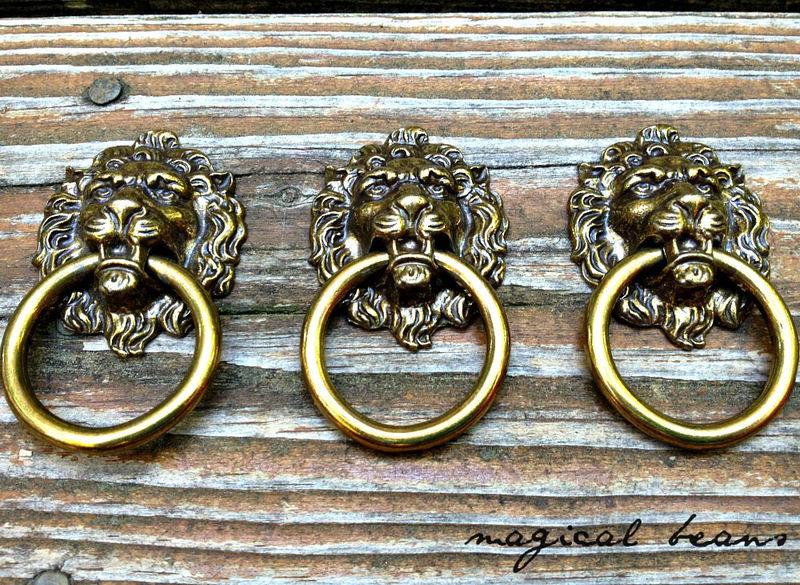 Vintage Solid Brass Lion Head Ring Pull By Keeler Brass Co