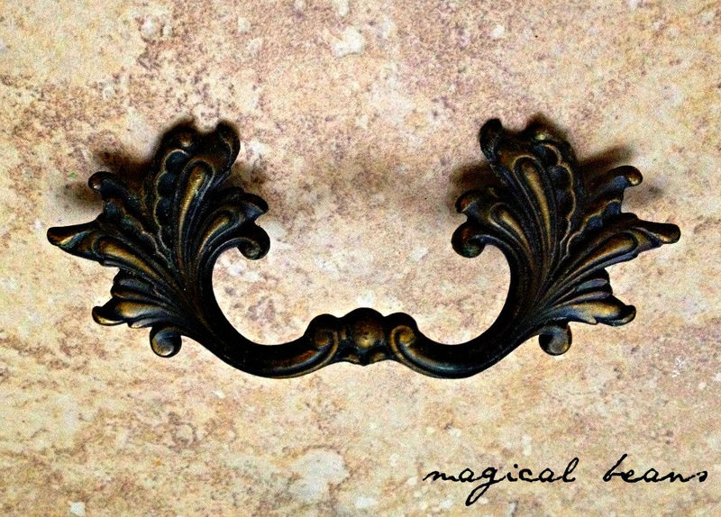 Vintage Black Amp Gold French Provincial Pulls By National