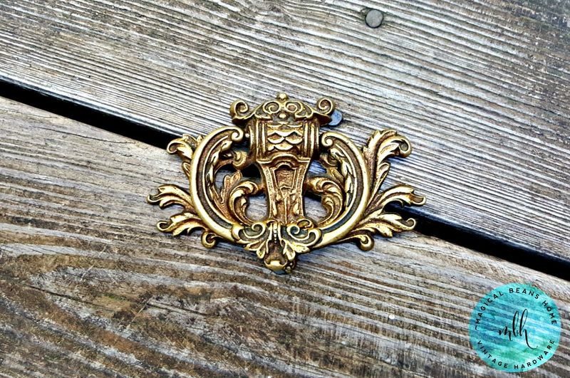 Vintage Keeler Brass Co Regal Drop Pull In Bright Solid