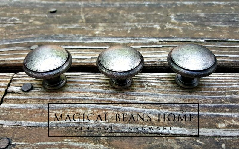 Modern Farmhouse Style Weathered Nickel Drawer Knobs In Distressed Silver Black Magical Beans Home