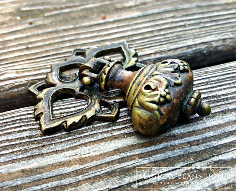 Vintage Keeler Brass Co Ornate Bell Tear Drop Pulls In