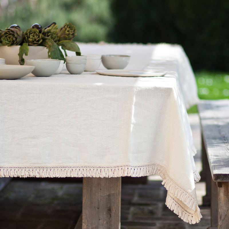 Linen Tablecloth With Fringe Oncemilano