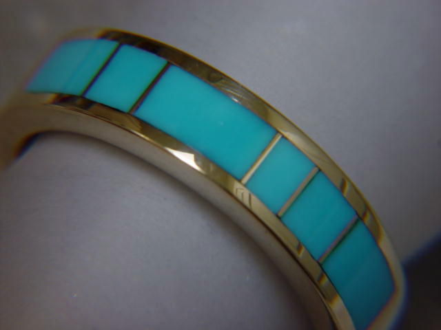 Sleeping Beauty Turquoise in 5mm wide 14 Karat Gold Ring Carusetta