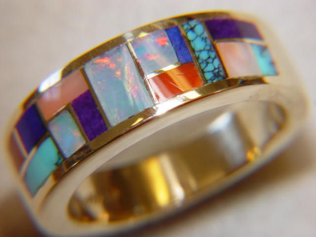 Multi Stone Inlay In 7mm Wide 14 Karat Gold Ring
