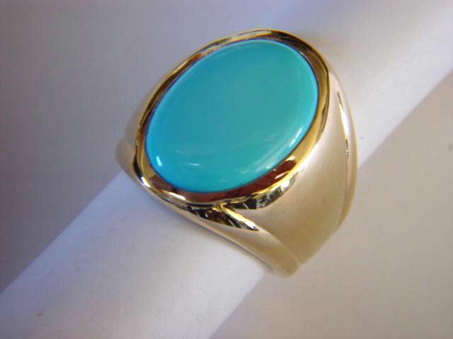 Sleeping Beauty Turquoise In Heavy 14 Karat Yellow Gold