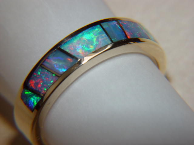 Australian Opal Crystal In 5mm Wide 14 Karat Gold Ring