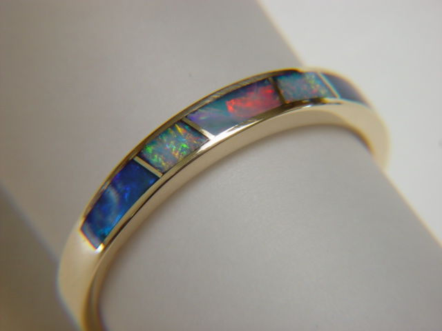 Opal Wedding Band.Opal In 3 5 Mm Wide 14 Karat Gold Ring