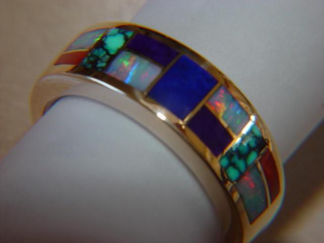 Multi Stone Inlay In 7mm Wide 18 Karat Gold Ring
